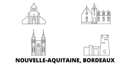 Francia, Bordeaux linea skyline di viaggio insieme. Francia, Bordeaux contorno città vettore panorama, illustrazione, siti di viaggi, punti di riferimento, strade. Vettoriali
