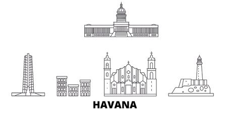 Cuba, Havana line travel skyline set. Cuba, Havana outline city vector panorama, illustration, travel sights, landmarks, streets.