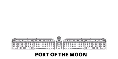 France, ligne d'horizon de voyage de la ville de Bordeaux. France, contour de la ville de Bordeaux panorama vectoriel de la ville, illustration, sites touristiques, monuments, rues.