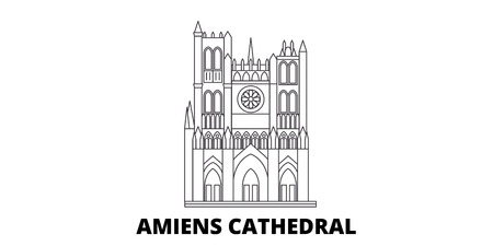 France, Amiens Cathedral  line travel skyline set. France, Amiens Cathedral  outline city vector panorama, illustration, travel sights, landmarks, streets. 스톡 콘텐츠 - 120563615