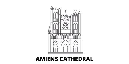 France, Amiens Cathedral  line travel skyline set. France, Amiens Cathedral  outline city vector panorama, illustration, travel sights, landmarks, streets.