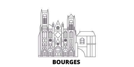 France, Bourges line travel skyline set. France, Bourges outline city vector panorama, illustration, travel sights, landmarks, streets.