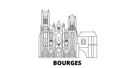 France, Bourges line travel skyline set. France, Bourges outline city vector panorama, illustration, travel sights, landmarks, streets.