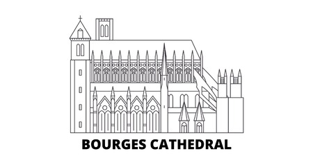 France, Bourges Cathedral Landmark line travel skyline set. France, Bourges Cathedral Landmark outline  vector panorama, illustration, travel sights, landmarks, streets.