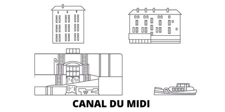 France, Canal du Midi voyage en ligne ensemble d'horizon. France, Canal du Midi contour vectoriel de la ville panorama, illustration, sites touristiques, monuments, rues. Vecteurs