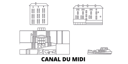 France, Canal Du Midi  line travel skyline set. France, Canal Du Midi  outline city vector panorama, illustration, travel sights, landmarks, streets.