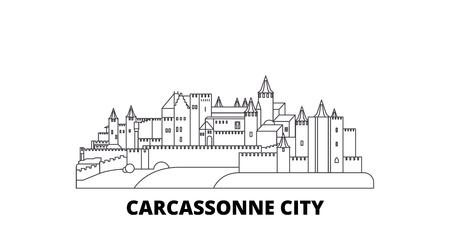 France, Carcassonne City line travel skyline set. France, ville de Carcassonne contour vectoriel panorama de la ville, illustration, sites touristiques, monuments, rues.