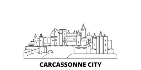 France, Carcassonne City line travel skyline set. France, Carcassonne City outline city vector panorama, illustration, travel sights, landmarks, streets.