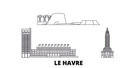France, Le Havre line travel skyline set. France, Le Havre outline city vector panorama, illustration, travel sights, landmarks, streets.