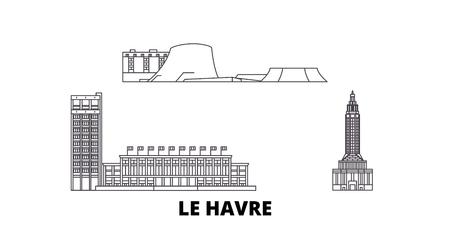 France, Le Havre line travel skyline set. France, Le Havre outline city vector panorama, illustration, travel sights, landmarks, streets. Reklamní fotografie - 123962715