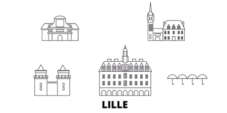 France, Lille line travel skyline set. France, Lille outline city vector panorama, illustration, travel sights, landmarks, streets.