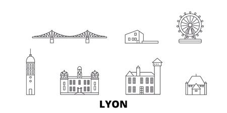 France, Lyon line travel skyline set. France, Lyon contour vectoriel panorama de la ville, illustration, sites touristiques, monuments, rues.