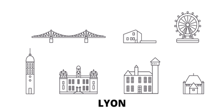 France, Lyon line travel skyline set. France, Lyon outline city vector panorama, illustration, travel sights, landmarks, streets.