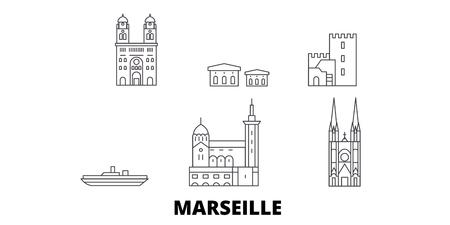 France, Marseille line travel skyline set. France, Marseille outline city vector panorama, illustration, travel sights, landmarks, streets. 일러스트