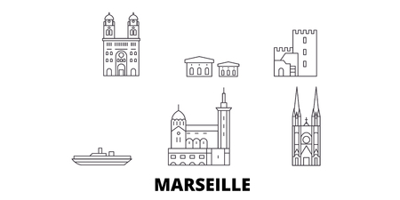France, Marseille line travel skyline set. France, Marseille outline city vector panorama, illustration, travel sights, landmarks, streets. Illustration