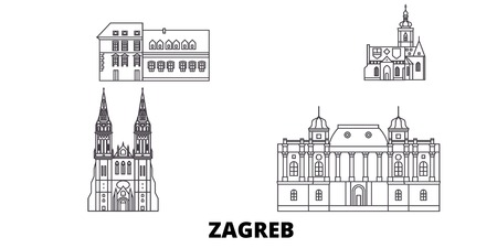 Croatia, Zagreb line travel skyline set. Croatia, Zagreb outline city vector panorama, illustration, travel sights, landmarks, streets.