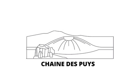 France, Chaine Des Puys line travel skyline set. France, Chaine Des Puys outline city vector panorama, illustration, travel sights, landmarks, streets.