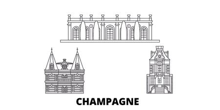 France, Champagne line travel skyline set. France, Champagne outline city vector panorama, illustration, travel sights, landmarks, streets.