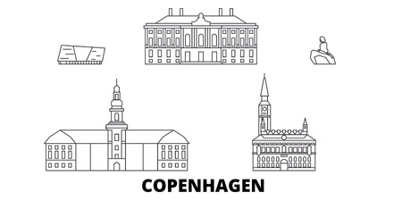 Denmark, Copenhagen line travel skyline set. Denmark, Copenhagen outline city vector panorama, illustration, travel sights, landmarks, streets.