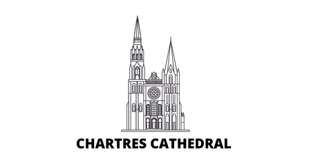 France, Chartres line travel skyline set. France, Chartres outline city vector panorama, illustration, travel sights, landmarks, streets. Stock Vector - 120563668