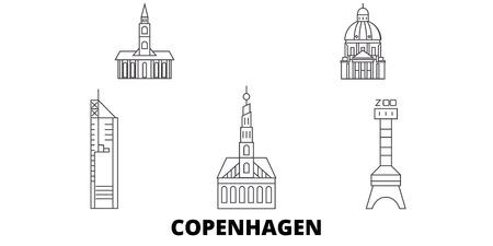Dänemark, Kopenhagen City Line Reisen Skyline Set. Dänemark, Kopenhagen Stadt skizzieren Stadtvektorpanorama, Illustration, Reisesehenswürdigkeiten, Sehenswürdigkeiten, Straßen. Vektorgrafik