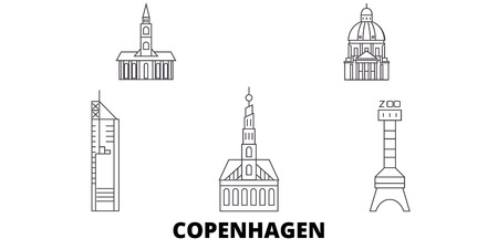Denmark, Copenhagen City line travel skyline set. Denmark, Copenhagen City outline city vector panorama, illustration, travel sights, landmarks, streets. Çizim