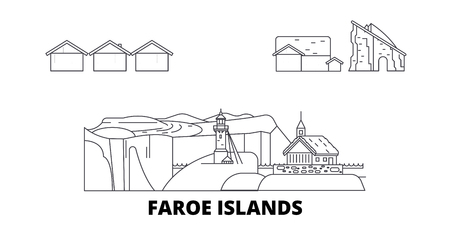 Denmark, Faroe Islands line travel skyline set. Denmark, Faroe Islands outline city vector panorama, illustration, travel sights, landmarks, streets.