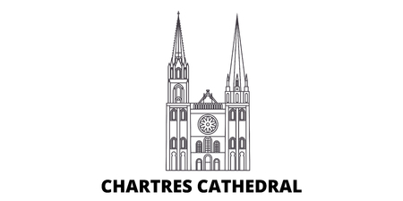 France, Chartres Cathedral Landmark line travel skyline set. France, Chartres Cathedral Landmark outline city vector panorama, illustration, travel sights, landmarks, streets.