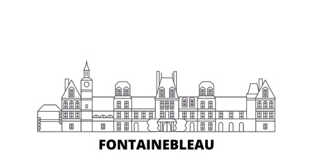 France, Fontainebleau  line travel skyline set. France, Fontainebleau  outline city vector panorama, illustration, travel sights, landmarks, streets.