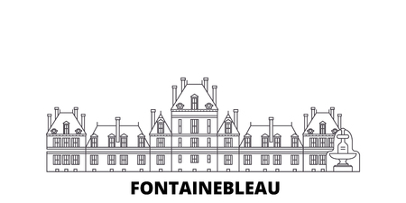 France, Fontainebleau Landmark line travel skyline set. France, Fontainebleau Landmark outline city vector panorama, illustration, travel sights, landmarks, streets.