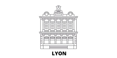 France, Lyon  Landmark line travel skyline set. France, Lyon  Landmark outline city vector panorama, illustration, travel sights, landmarks, streets.