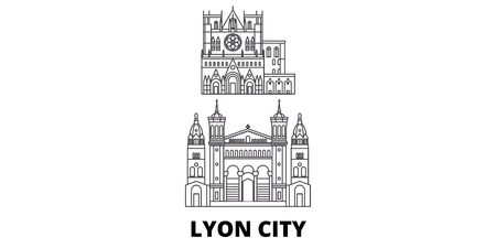 France, Lyon City line travel skyline set. France, Lyon City outline city vector panorama, illustration, travel sights, landmarks, streets.