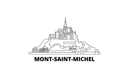 France, Mont Saint Michel And Its Bay line travel skyline set. France, Mont Saint Michel And Its Bay outline city vector panorama, illustration, travel sights, landmarks, streets.
