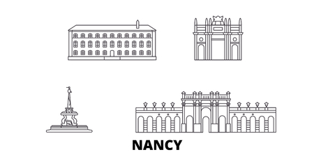 France, Nancy  line travel skyline set. France, Nancy  outline city vector panorama, illustration, travel sights, landmarks, streets.
