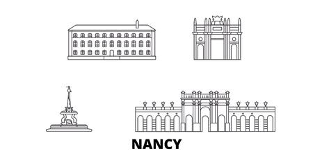 France, Nancy  line travel skyline set. France, Nancy  outline city vector panorama, illustration, travel sights, landmarks, streets.