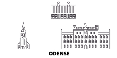 Denmark, Odense line travel skyline set. Denmark, Odense outline city vector panorama, illustration, travel sights, landmarks, streets. Иллюстрация