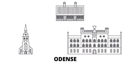 Denmark, Odense line travel skyline set. Denmark, Odense outline city vector panorama, illustration, travel sights, landmarks, streets. Illustration