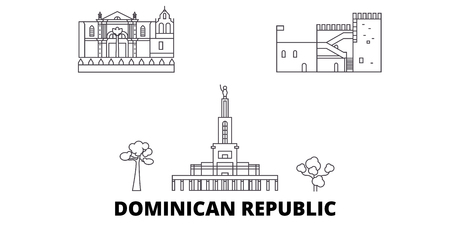 Dominican Republic line travel skyline set. Dominican Republic outline city vector panorama, illustration, travel sights, landmarks, streets. Banco de Imagens - 120563683