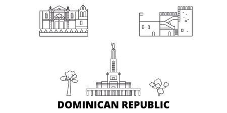 Insieme dell'orizzonte di viaggio di linea della Repubblica Dominicana. Repubblica Dominicana contorno città vettore panorama, illustrazione, siti di viaggi, punti di riferimento, strade.