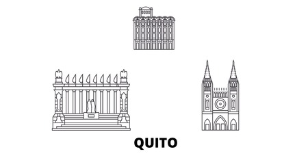 Ecuador, Guayaquil, Quito line travel skyline set. Ecuador, Guayaquil, Quito outline city vector panorama, illustration, travel sights, landmarks, streets.