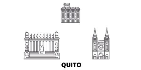 Ecuador, Guayaquil, Quito line travel skyline set. Ecuador, Guayaquil, Quito outline city vector panorama, illustration, travel sights, landmarks, streets.