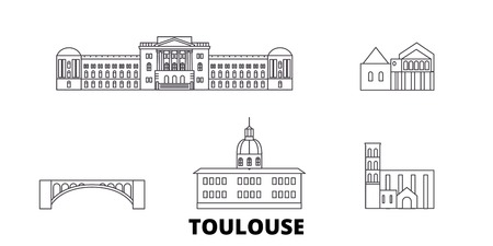 France, Toulouse line travel skyline set. France, Toulouse outline city vector panorama, illustration, travel sights, landmarks, streets. Standard-Bild - 120563742