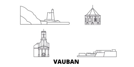 France, Vauban  line travel skyline set. France, Vauban  outline city vector panorama, illustration, travel sights, landmarks, streets.