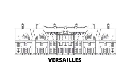 France, Versailles  line travel skyline set. France, Versailles  outline city vector panorama, illustration, travel sights, landmarks, streets.