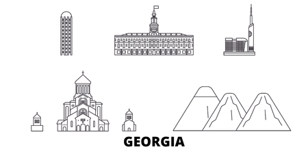 Georgia line travel skyline set. Georgia outline city vector panorama, illustration, travel sights, landmarks, streets. Ilustrace