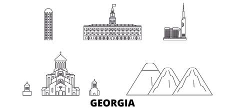 Georgia line travel skyline set. Georgia outline city vector panorama, illustration, travel sights, landmarks, streets. Illustration