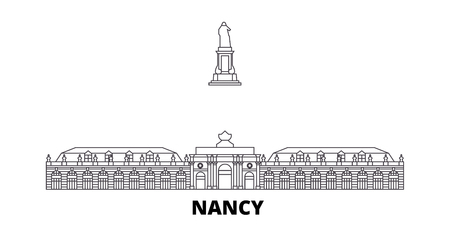 France, Nancy Landmark line travel skyline set. France, Nancy Landmark outline city vector panorama, illustration, travel sights, landmarks, streets.