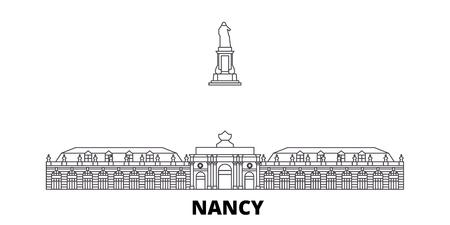France, Nancy Landmark line travel skyline set. France, Nancy Landmark outline city vector panorama, illustration, travel sights, landmarks, streets.