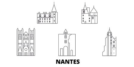 France, Nantes line travel skyline set. France, Nantes outline city vector panorama, illustration, travel sights, landmarks, streets.