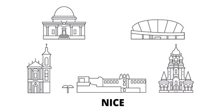 France, Nice line travel skyline set. France, Nice outline city vector panorama, illustration, travel sights, landmarks, streets. Ilustracja